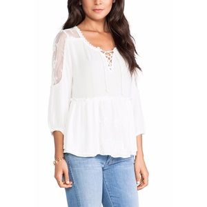 Free People White Lace Up Romance Of The Rose Top
